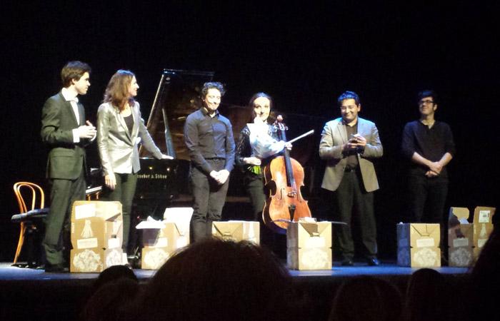 De gauche à droite : Thibault Lebrun, Vanessa Wagner, David Ianni, Hermine Horiot, Fernec Vizi, Aurélien Terrade